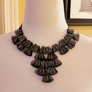 Sparkling charcoal tie statement necklace